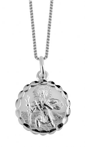 Silver St. Christopher necklace, With Boats, Ships And Planes On The Back 3198